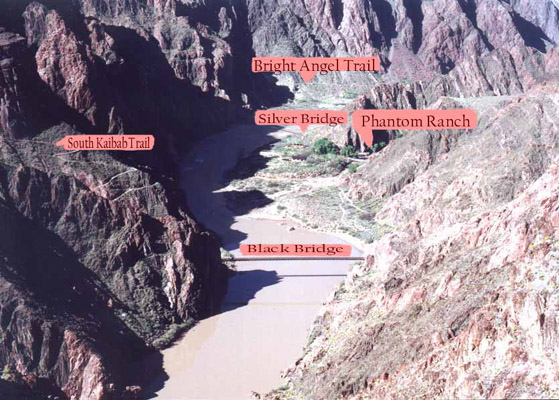 Phantom Ranch area with  labels.