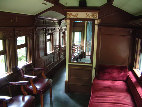 Inside the special coach.
